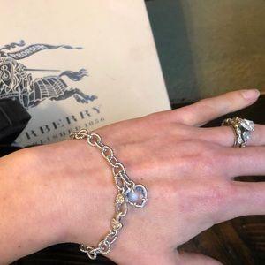 Judith Ripka Silver Bracelet with Blue Quartz
